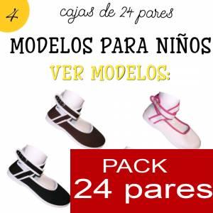 Modelos para Niños - Manoletinas NIÑO-NIÑA MARINO atadas al tobillo Caja de 24 pares (Últimas Unidades)